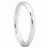 14K White Gold Plain Fitted Wedding Band- ENS2070-B