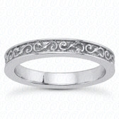 14K White Gold Scroll Designed Wedding Band- ENS3580-B