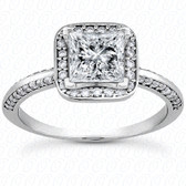 Princess Center Diamond Halo Engagement Ring - ENS3154-A