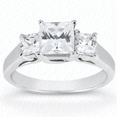 As Shown : Princess Cut Diamond Measures 6 x 6mm (Approximately 1.25 tcw) : Center Diamond
