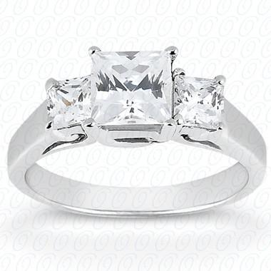 As Shown : Princess Cut Diamond Measures 6 x 6mm (Approximately 1.25 tcw) : Center Diamond