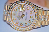 Women's Rolex Datejust President 18K Solid Gold Diamond Watch