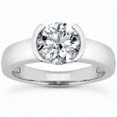 Women's 14K Semi-Bezel Style Engagement Ring