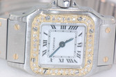 Womens Cartier Santos 18K Gold Diamond Watch
