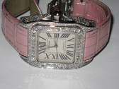 Womens Cartier Santos 100 Diamond Watch