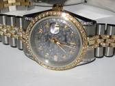 Mens Rolex Datejust 18K Gold Diamond Watch