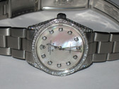 Mens Rolex Air-King Pearl Watch With Diamonds
