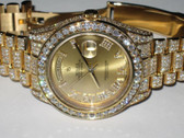 Mens Rolex Day-Date II President 18K Solid Gold Diamond Watch