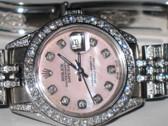 Womens Rolex Datejust Diamond Pink Dial Watch