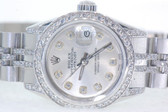 Womens Rolex Datejust Oyster Perpetual Diamond Watch - WRLX03
