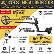 "XP ORX Wireless Metal Detector with 9"" X35 Round DD Waterproof Coil and Wired Headphones"