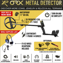 "XP ORX Wireless Metal Detector with 11"" X35 Round DD Waterproof Coil and Wired Headphones"