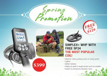 SPRING SPECIAL - Nokta Makro Simplex+ WHP Metal Detector, Wireless Headphones and 2 Coils