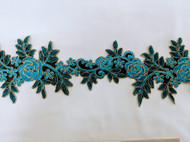 Turquoise Floral Emb Trim