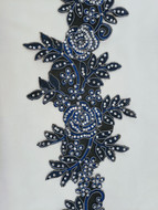 Royal Blue Floral Emb Trim W/Stones