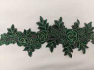 Green Floral Emb Trim W/Stones