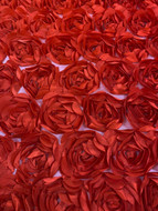 Red Poly 3D Roses on Tulle