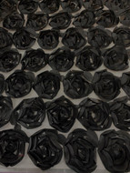 Black Poly 3D Roses on Tulle