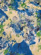 Blue Silk Floral Print
