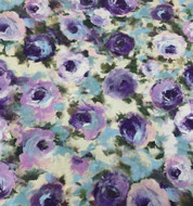 Purple Regal Roses Cotton Print