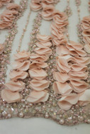 Pink Emb Beaded 3D Flower