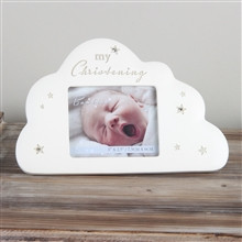 """Cloud Shaped Resin Photo Frame With The Popular Bambino Design With Crystal Stars And """"My Christening"""" Text At The Top With A3x2.5"""" Apperture. Approx 17cm x 11cm"""