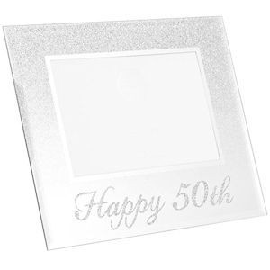 Photo Frame With A Silver Glitter Design On Top Half And Silver Glitter Happy 50th Text Along The Bottom Holds A 4x6 Photo