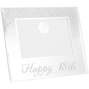 Photo Frame With A Silver Glitter Design On Top Half And Silver Glitter Happy 18th Text Along The Bottom Holds A 4x6 Photo