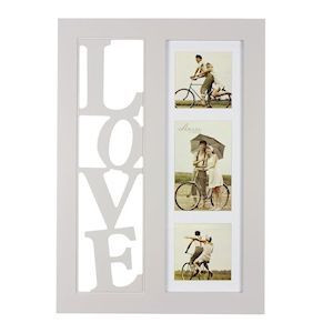 Triple Collage Frame With Space For 3 Photos One Side & Cut-Out 3D LOVE Letters The Other Side
