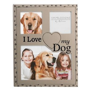 Metal Photo Frame With Paw Print Design Around The Edges And I Love My Dog Text. Has Spaces For 3 Pictures