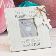 MDF Frme With Hanging Heart And Cross With Sweet Christening Text Along The Top And Bottom