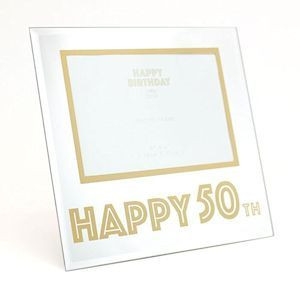 """Mirror Design Photo Frame With Gold Border & Gold """"Happy 50th"""" Text - 4x6"""" Aperture"""