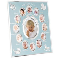 Silver Plated Frame With Blue Background And Space For 13 Photos One For Ever Month From New Born To 1 Year Old