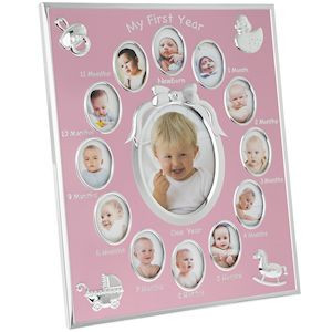 Silver Plated Frame With Pink Background And Space For 13 Photos One For Ever Month From New Born To 1 Year Old