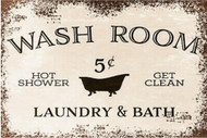 Washroom Bath and Laundry Retro Vintage Style Metal Sign, bathroom, shower