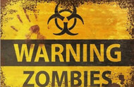 Zombie Warning Vintage Retro style Metal Sign