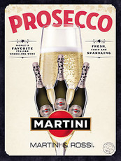 Prosecco Martini, Retro Metal Plaque