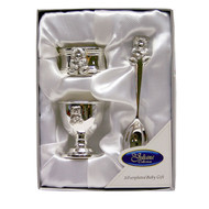 SILVERPLATED NAPKIN RING, EGG CUP & SPOON SET