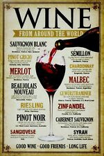 Wines From Around The World Retro Sign