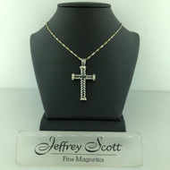 JS Crux Immissa of Antiqued Sterling Silver, Rhodium, 18k Accents, with hand set Swarvoski