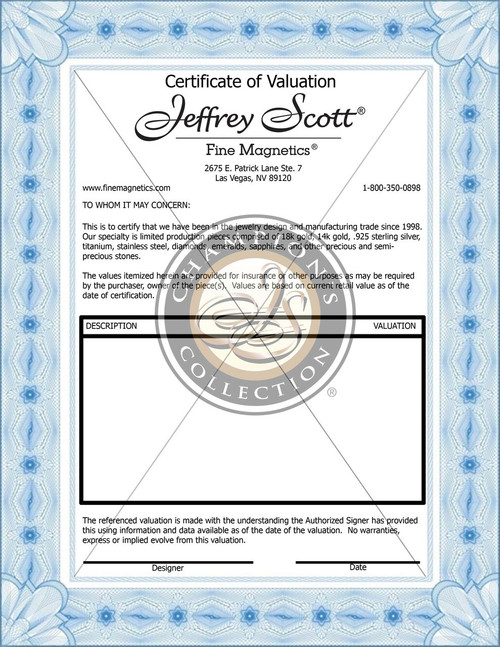 A sample Certificate of Valuation