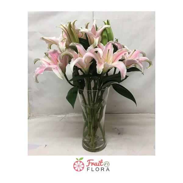แจกันดอกดอกลิลลี่สีชมพูงาม ๆ มองดูแล้วเพลินตา ประดับบ้านก็ชื่นใจ