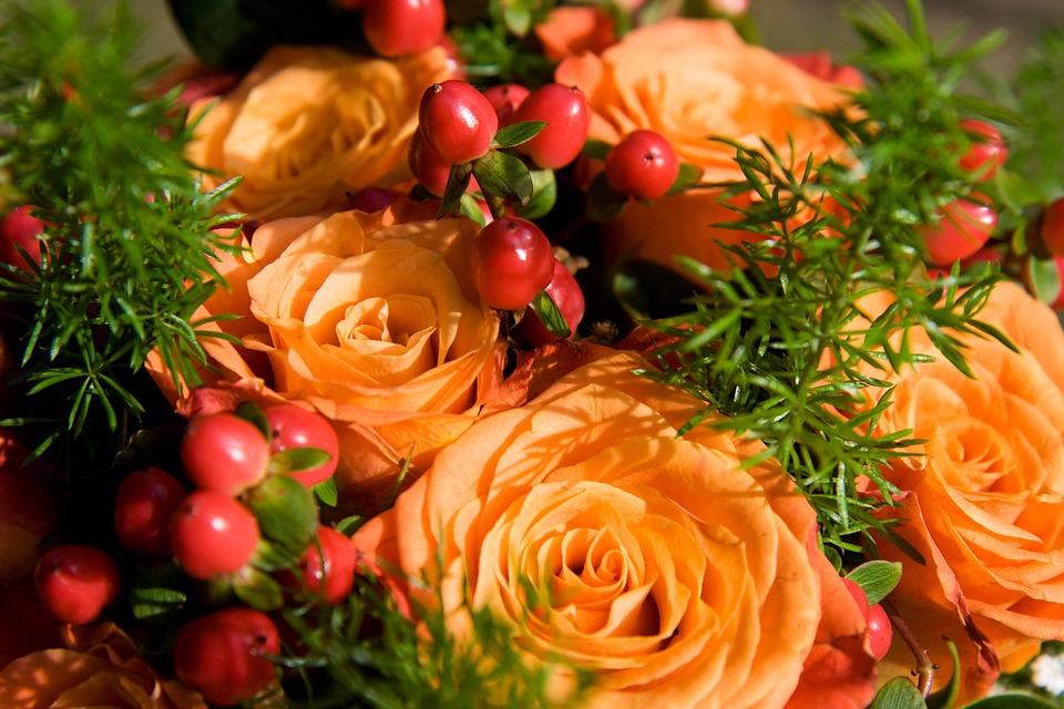 ช่อดอกกุหลาบสีส้ม