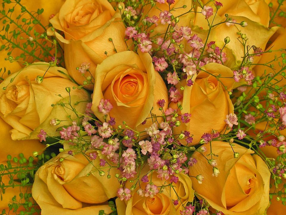 ช่อดอกกุหลาบสีเหลือง