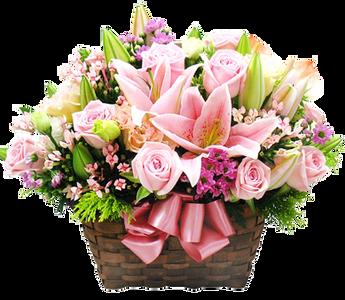 กระเช้าวาเลนไทน์ ตกแต่งด้วยดอกกุหลาบและดอกลิลลี่สีชมพู