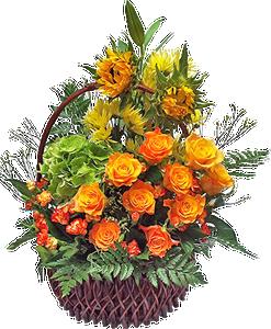 กระเช้าดอกไม้สีส้ม