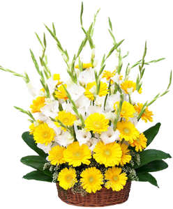 กระเช้าดอกไม้สีเหลือง