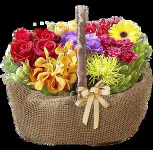 กระเช้าดอกไม้หลากสีสัน