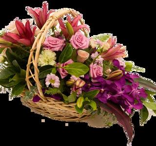 ดอกไม้โทนสีชมพูในกระเช้า