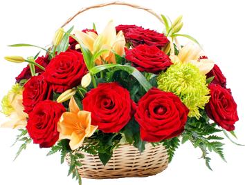 กระเช้าดอกไม้โทนสีแดงเขียว